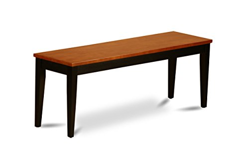 East West Furniture PFB-BLK-W Dining Bench with Wood Seat, Black and Cherry Finish (Room Furniture Banquette Dining)