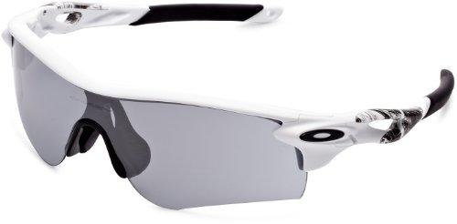 Oakley Men's OO9206 Radarlock Path Asian Fit Wrap Sunglasses, Matte White/Slate Iridium, 38 ()