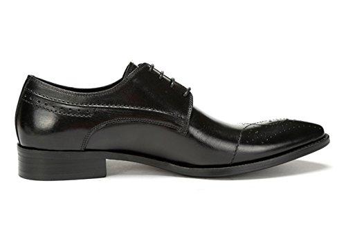 Santimon Heren Emboss Puntschoen Wingtip Lederen Brogue Schoenen Zwart