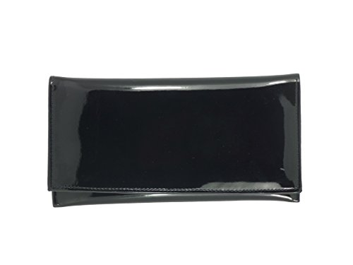 LONI Womens Wallet Clutch Bag Matinee Purse Coin Pouch Patent Faux Leather in Black