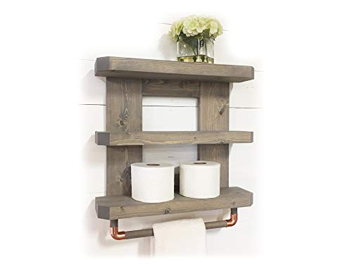Mountain Creek Woodworks Rustic Wooden Bathroom Shelf & Towel Rack/Rod (Classic Gray)