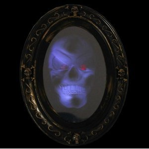 [Motion Activated Haunted Mirror with Creepy Sound - Luminous Portrait Halloween Prop Decoration] (Halloween Animatronics)