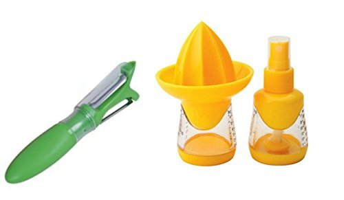 Lemon and Lime Juicer and Squeezer Press, Yellow with Dual Function Peeler Bundle