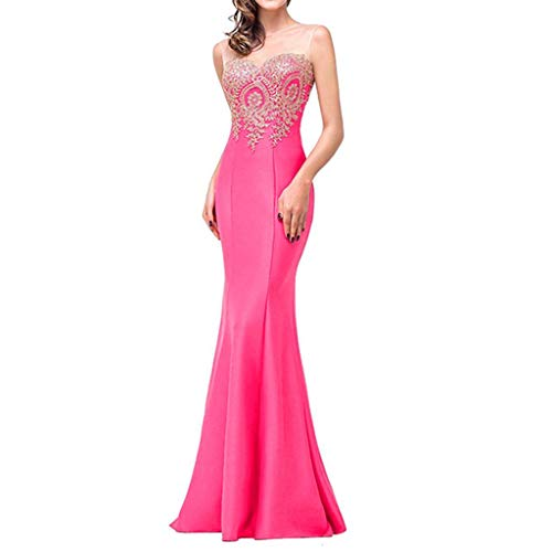 - Women's Lace Sleeveless Long Evening Dress Formal Party Ball Gown Bridesmaid Mermaid Beaded Prom Dresses