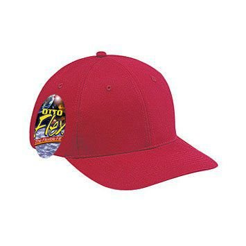 OTTO Flex Brushed Stretchable Cotton Twill 6 Panel Low Profile Baseball Cap - Red