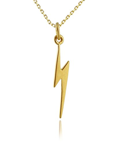 24k Gold Plated Sterling Silver Lightning Bolt Charm Pendant Necklace, 18 Inch Chain -