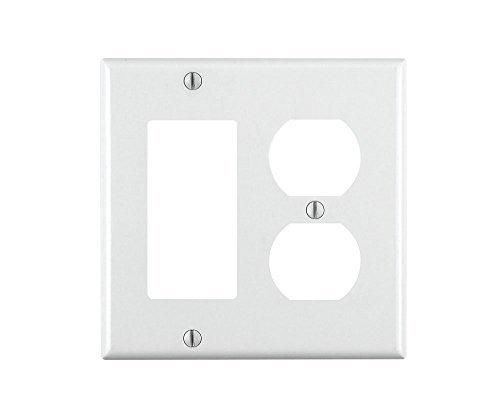 Leviton 80455-W 2-Gang 1-Duplex 1-Decora/GFCI Device Combination Wallplate, Standard Size, Thermoset, Device Mount, White, 25-Pack