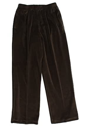 Alfred Dunner Party Animal Elastic Waist Velour Pants Espresso 20W M