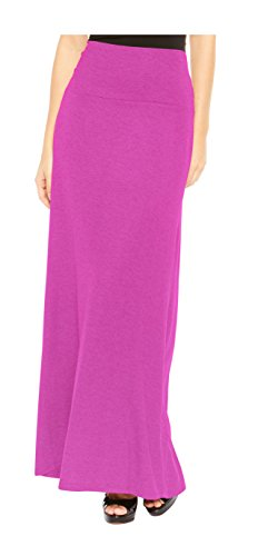 Red Hanger Women's Stylish Solid Long Maxi Skirt - Made in USA, Fuchsia-2X ()