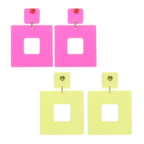 2 Pairs Geometric Square Acrylic Earrings for 80s Dress-Up