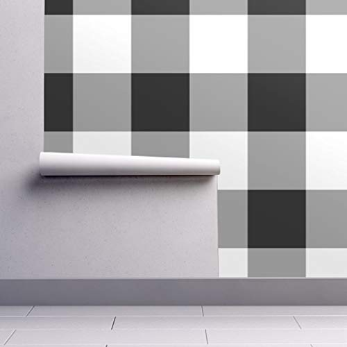 - Removable Water-Activated Wallpaper - Black + White Gingham Gingham Gingham Black and White Check Plaid Tartan by Peacoquettedesigns - 24in x 60in Smooth Textured Water-Activated Wallpaper Roll