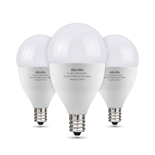 Albrillo E12 Bulb Dimmable LED Candelabra Bulbs, 60 Watt Incandescent Light Equivalent, Warm White 2700K, 3 Pack