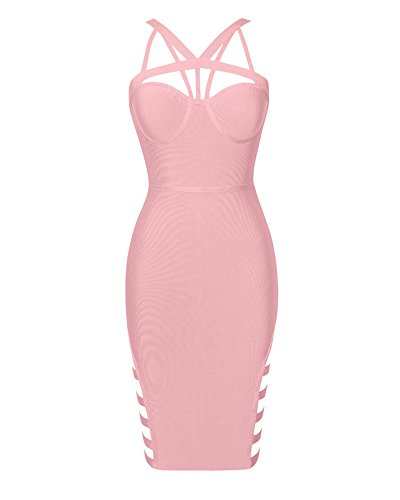UONBOX Women's Sexy Cut Out Club Party Strappy Bandage Dress With Side Hollow (L, Pink) (Out Dress Sexy Side Cut)