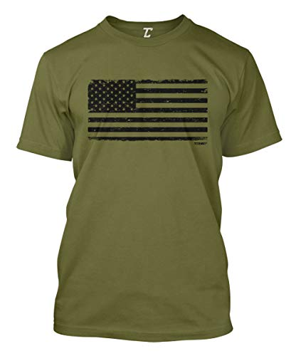 Distressed Black USA Flag - Patriotic Men's T-Shirt (Olive, Medium)