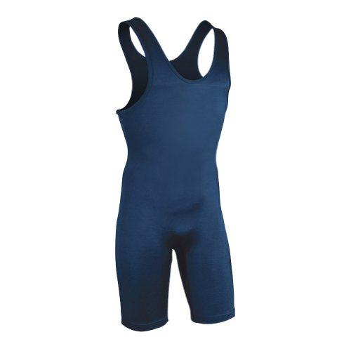 Brute Men's Lycra High Cut Wrestling Singlet Large,Navy,Large