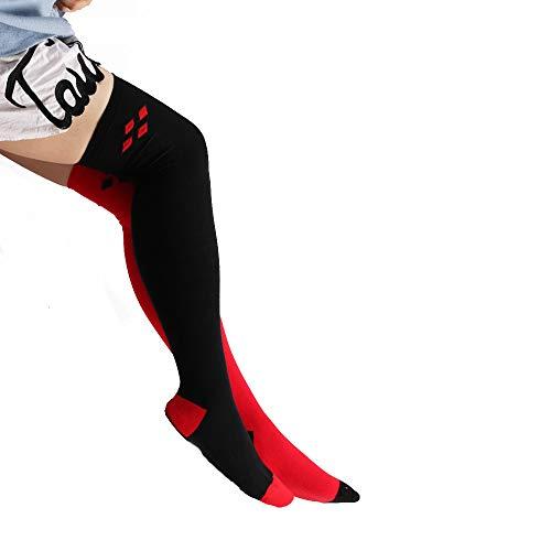 HYIRI ✈ Xmas Christmas Daily Sexy Women's Starry Sky Digital Red Black Diamond Stockings Color Matching -