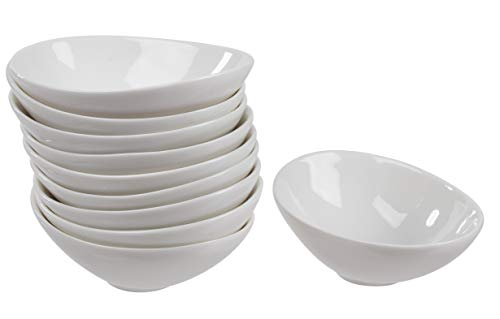 Porcelain Dip Bowls - 10-Pack Ramekins Small Sauce Dish for Side Dish, Dipping Sauce, Condiments, Round Dip Plate, Home, Party, Restaurant Supplies, White, 4.6 x 1.5 x 3.4 -