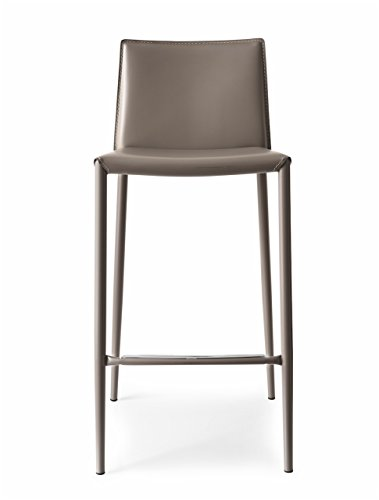 Connubia Boheme Stool - Steel Stained Matt Taupe Frame - Regenerated Leather Taupe Seat