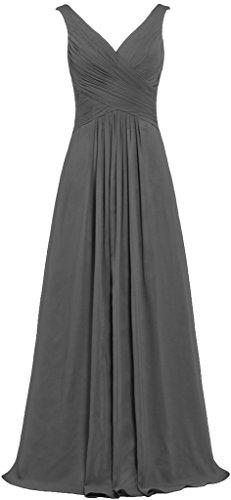Dresses V Gowns Long Sleeveless Chiffon Grey Women's Bridesmaid Neck ANTS WPqYw5Ux