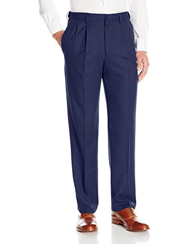 Haggar Men's Cool 18 Pro Classic Fit Pleat Front Expandable Waist Pant, Navy, 36Wx32L (Front Pant Pleat)