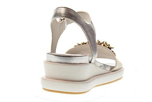 ALTRAOFFICINA Zapatos de Las Sandalias Q1301X Negro/Plata Blanco / plata