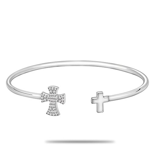 Lisa Simpson 925 Sterling Silver Adjustable Cross Cuff Bracelet for Women, Cubic Zirconia Bangle with Gift Box, Perfect for Her
