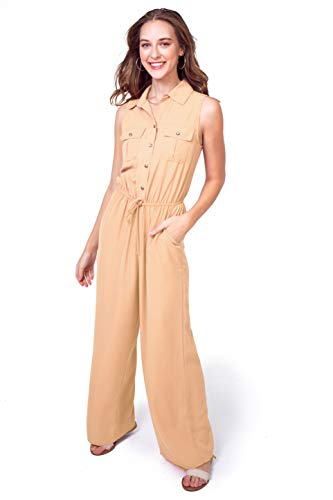 Bebop Women's Challis Sleeveless Collared Button Front Shirt Top Utility Wide Leg Palazzo Jumpsuit (Sand, Large)