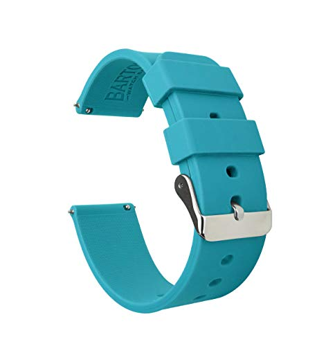 - Barton Silicone Watch Bands - Quick Release Straps - Choose Color & Width - 16mm, 18mm, 20mm, 22mm - Aqua Blue 20mm