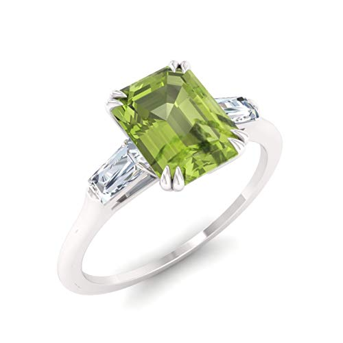Ring Baguette Peridot - Diamondere Natural and Certified Peridot and Diamond Baguette Engagement Ring in 14K White Gold   0.84 Carat Three Stone Petite Ring for Women, US Size 7.5