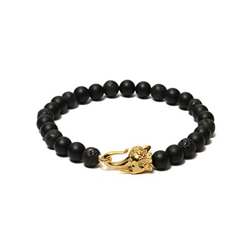 (The Elephant Brass Head Handcrafted 8mm Beaded Mens Bracelet Antique Matte Finish Rhodium Plating - Black Onyx & Lava Beads)