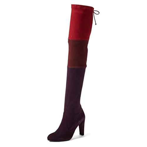 E Estraibile Rosso Femminile Tacco Stivaletti Coscia Su Sexy Viola Chiuso Moda Umexi Toe Alta 7qZFxwUUS
