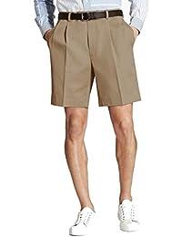 Men's 52712 Pleat-Front Lightweight Advantage Shorts, Dark Khaki