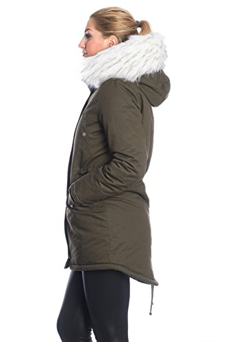 Kendindza Damen Parka Jacke Khaki mit weißem Kunstfell 7ZP6sMuGAL