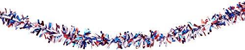 Beistle 50281-RWB 6-Ply Flame Resistant Red, White and Blue Metallic Festooning Garland, 4