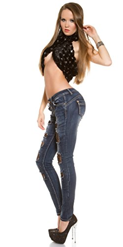 Jeans Rete Denim up Store Donna Push Pantaloni E Strappi Elasticizzati Blanco v05wqF