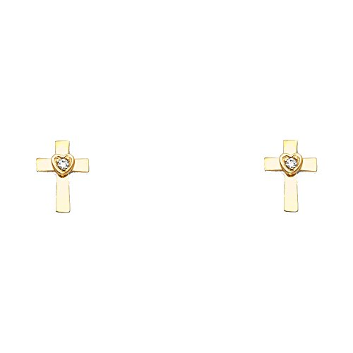 14k Yellow Gold Cross Heart Stud Earrings with Screw Back