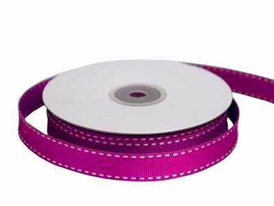 "Tableclothsfactory 5/8"" Grosgrain Ribbon with Stitched Edges-Fushia"