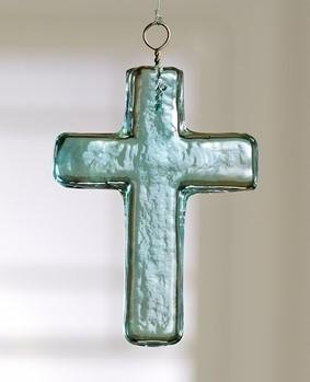 Market Street Small Blue Glass Cross