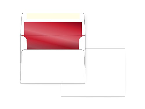 (A7 Invitation Envelope - Red Foil Lined - 24# White (5 1/4 x 7 1/4) - Announcement Envelope Series (Box of 250))
