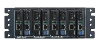 FMC-CH08-DC unmanaged fiber media converter chassis with 8 slots and single DC power supply, 2U, 10''rack