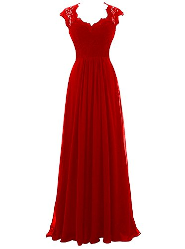 Dresses Party Gowns Neck Long Red Lace Chiffon Illusion Cdress Bridesmaid Formal V Prom UcOtzqWwW