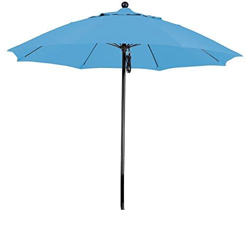 California Umbrella 9' Round 100% Fiberglass Frame Market Umbrella, Push Lift, Black Pole, Pacifica Capri Fabric