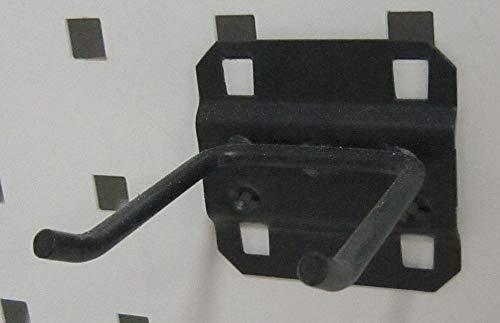 Steel Double Rod Pegboard Hook, Screw In Mounting Type, Black pack of 5