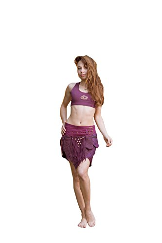 Studded Vintage Skirt (AryaClothing Alessia Studded Pocket Skirt- Stud Gypsy Festival Goa Festival Fairy Hippie Boho Vintage Wrap Skirt With Belt and Pockets (Purple))