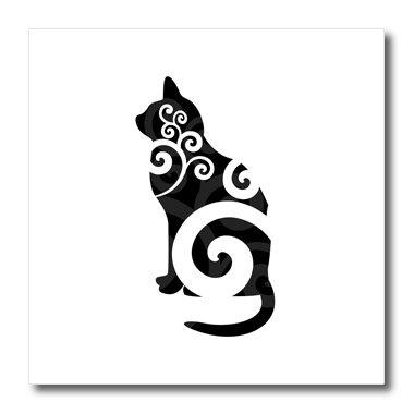 3dRose ht_41074_3 Swirly Cat Silhouette Black-Iron On Hea...