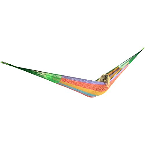 Cheap  Sunnydaze Hand-Woven Mayan Hammock Portable, Double Size, 440 Pound Capacity, Multi Color