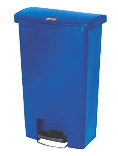 Rubbermaid Commercial Products Slim Jim Step-On Plastic Trash/Garbage Cans, 13 Gallon, Plastic Front Step Step-On, Blue