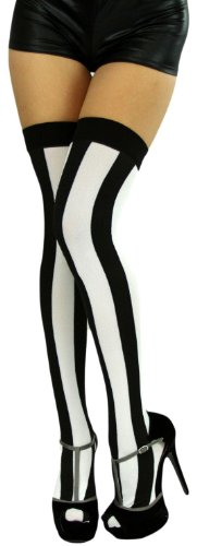 Black And White Striped Stockings (ToBeInStyle Women's Wide Vertical Striped Thigh Hi Stockings - One Size - Black W/White Wide)