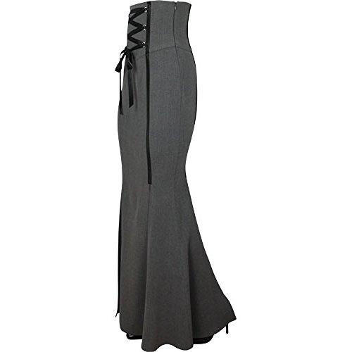 Chic Star Gothic Korsett hohe Taille langer Rock Grau 36,38,40,42,44,46,50,52,54,56,58,60