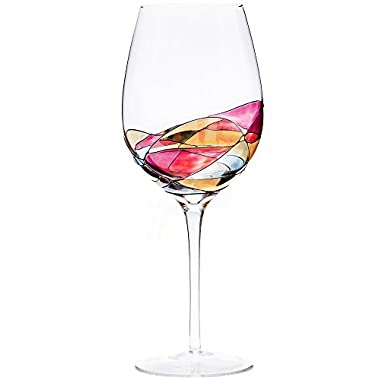 ANTONI BARCELONA Large Wine Glass - Unique Hand Painted Gifts for Women, Men, Wedding, Anniversary, Couples, Engagement - Set of 1 - Ideas for Her, Him, Birthday, Mom, Housewarming, Best Friends